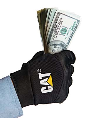 Cat Glove Holding Cash