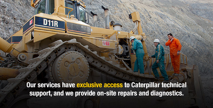 Our services have exclusive access to Caterpillar technical support, and we provide on-site repairs and diagnostics.