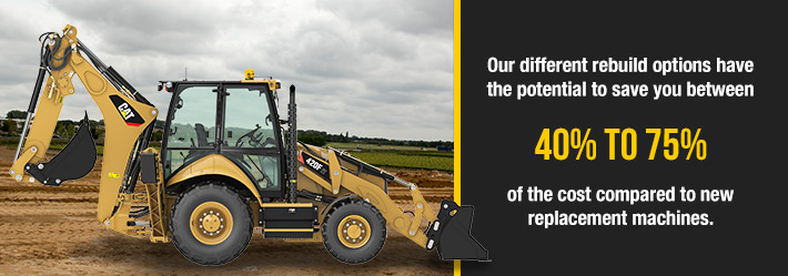 Our different rebuild options have the potential to save you between 40-50% of the cost compared to new replacement machines.